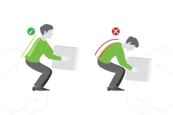 postura corecta in timpul aplecarii